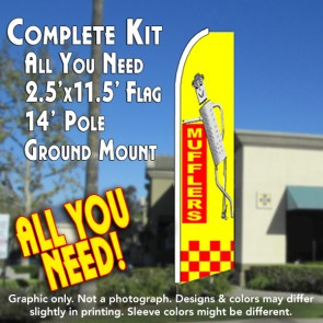 MUFFLERS (Yellow/Checkered) Flutter Feather Banner Flag Kit (Flag, Pole, & Ground Mt)