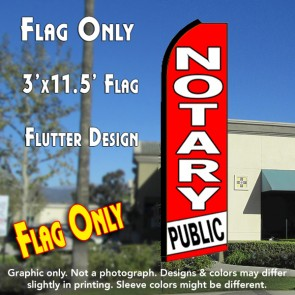 NOTARY PUBLIC (Red/White) Flutter Feather Banner Flag (11.5 x 3 Feet)