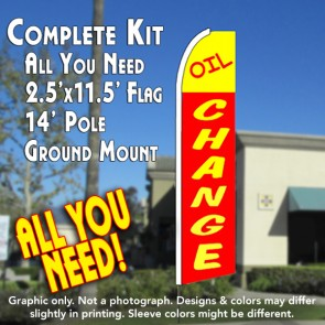 OIL CHANGE 2.5 (Yellow/Red) Flutter Feather Banner Flag Kit (Flag, Pole, & Ground Mt)