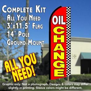 OIL CHANGE (Checkered) Flutter Feather Banner Flag Kit (Flag, Pole, & Ground Mt)