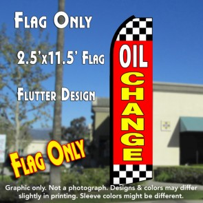 OIL CHANGE (Red/Checkered) Flutter Polyknit Feather Flag (11.5 x 2.5 feet)