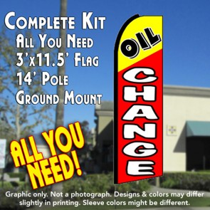 OIL CHANGE (Yellow/Red) Flutter Feather Banner Flag Kit (Flag, Pole, & Ground Mt)