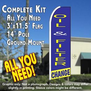 OIL & FILTER CHANGE (Blue/Yellow) Flutter Feather Banner Flag Kit (Flag, Pole, & Ground Mt)