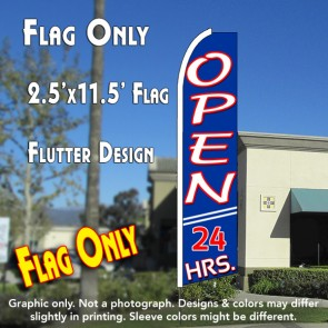 OPEN 24 HRS (Blue) Flutter Feather Banner Flag (11.5 x 2.5 Feet)