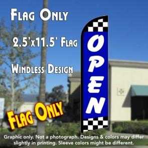 Open (Blue/Checks) Windless Feather Banner Flag (2.5 x 11.5 Feet)