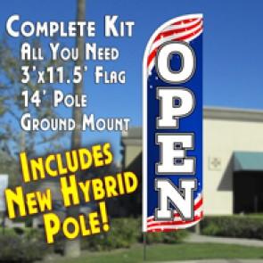 PATRIOTIC FLAG PATTERN Feather Banner Flag Kit (Flag, Pole, & Ground Mt)