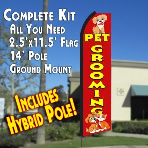 Pet Grooming Windless Advertising Banner Flag kit to advertise your business