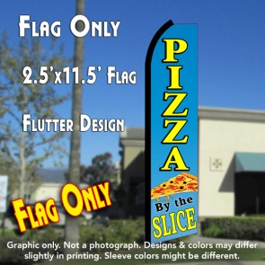 PIZZA BY THE SLICE (Blue/Yellow) Flutter Polyknit Feather Flag (11.5 x 2.5 feet)