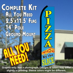 PIZZA BY THE SLICE (Blue/Yellow) Flutter Feather Banner Flag Kit (Flag, Pole, & Ground Mt)