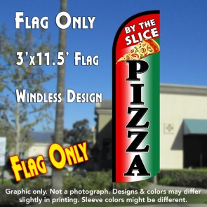 Pizza By The Slice (Tri-color/Black) Windless Polyknit Feather Flag (3 x 11.5 feet)