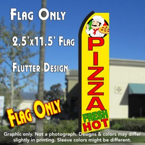 PIZZA FRESH HOT (Yellow/Red) Flutter Polyknit Feather Flag (11.5 x 2.5 feet)