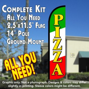 Pizza (Tri-color/Black) Windless Feather Banner Flag Kit (Flag, Pole, & Ground Mt)