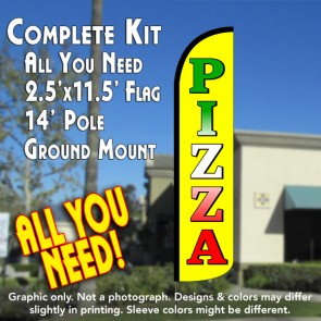 PIZZA (Yellow) Windless Feather Banner Flag Kit (Flag, Pole, & Ground Mt)