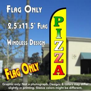 PIZZA (Yellow) Windless Polyknit Feather Flag (2.5 x 11.5 feet)