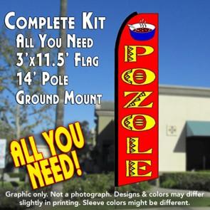 POZOLE (Red) Flutter Feather Banner Flag Kit (Flag, Pole, & Ground Mt)