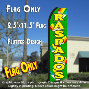 RASPADOS (Green/Yellow) Flutter Polyknit Feather Flag (11.5 x 2.5 feet)