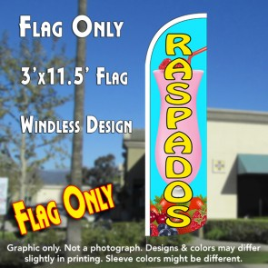 Raspados (Smoothies) Windless Polyknit Feather Flag (3 x 11.5 feet)