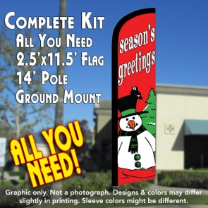 SEASON'S GREETINGS (Snowman) Windless Feather Banner Flag Kit (Flag, Pole, & Ground Mt)