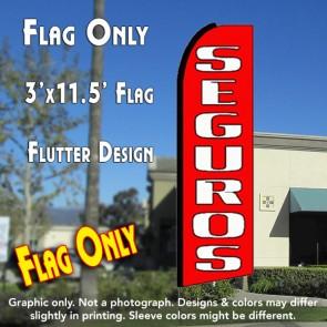 SEGUROS (Red) Flutter Feather Banner Flag