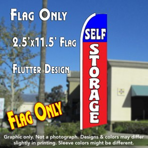 SELF STORAGE (Blue/Red) 2.5 Flutter Feather Banner Flag (11.5 x 2.5 Feet)