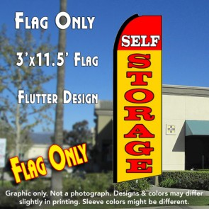 SELF STORAGE (Red/Yellow) Flutter Feather Banner Flag (11.5 x 3 Feet)