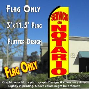 SERVICIO DE NOTARIO (Yellow) Flutter Feather Banner Flag (11.5 x 3 Feet)