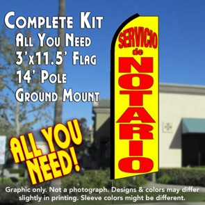 SERVICIO DE NOTARIO (Yellow) Flutter Feather Banner Flag Kit (Flag, Pole, & Ground Mt)