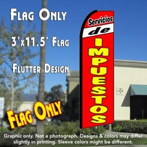 SERVICIOS DE IMPUESTOS (Red) Flutter Feather Banner Flag (11.5 x 3 Feet)