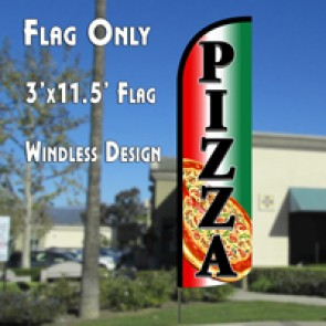 Pizza (Tri-color/Black) Windless Polyknit Feather Flag (3 x 11.5 feet)