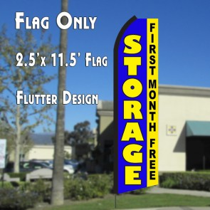 STORAGE First Month Free (Blue/Yellow) Flutter Polyknit Feather Flag (11.5 x 2.5 feet)