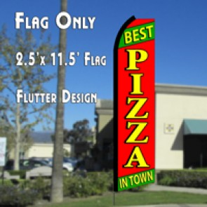 BEST PIZZA IN TOWN (Green/Red) Flutter Polyknit Feather Flag (11.5 x 2.5 feet)