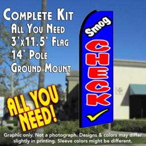 SMOG CHECK (Blue) Flutter Feather Banner Flag Kit (Flag, Pole, & Ground Mt)