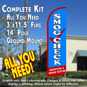 Smog Check Inspection & Repair Station Windless Feather Banner Flag Kit (Flag, Pole, & Ground Mt)