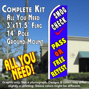 SMOG CHECK PASS OR FREE RETEST (Blue) Flutter Feather Banner Flag Kit (Flag, Pole, & Ground Mt)