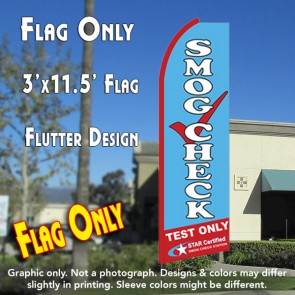 SMOG CHECK TEST ONLY (Star Certified) Flutter Feather Banner Flag (11.5 x 3 Feet)