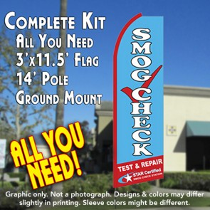 SMOG CHECK TEST & REPAIR (Star Certified) Flutter Feather Banner Flag Kit (Flag, Pole, & Ground Mt)