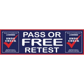 Smog Check Pass or Free Retest Feather Banner Flag