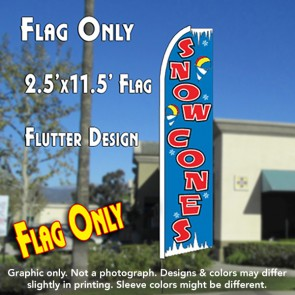 Snow Cones (Blue) Flutter Feather Banner Flag (11.5 x 2.5 Feet)