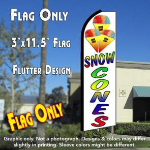 SNOW CONES Flutter Feather Banner Flag (11.5 x 3 Feet)