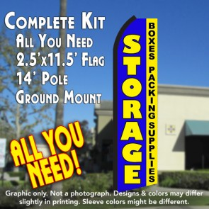 STORAGE Boxes Packing Supplies (Blue/Yellow) Flutter Feather Banner Flag Kit (Flag, Pole, & Ground Mt)