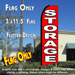 STORAGE (Red/White) Flutter Feather Banner Flag (11.5 x 3 Feet)