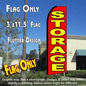 STORAGE (Red/Yellow) Flutter Feather Banner Flag (11.5 x 3 Feet)