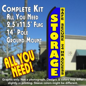 STORAGE Safe Secure 24hr Access (Blue/Yellow) Flutter Feather Banner Flag Kit (Flag, Pole, & Ground Mt)
