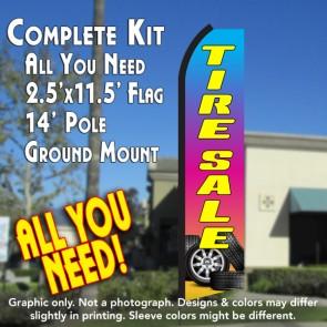 TIRE SALE (Gradient) Flutter Feather Banner Flag Kit (Flag, Pole, & Ground Mt)