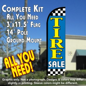 Tire Sale (Light Blue/Checkered) Windless Feather Banner Flag Kit (Flag, Pole, & Ground Mt)