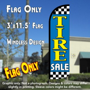 Tire Sale (Light Blue/Checkered) Windless Polyknit Feather Flag (3 x 11.5 feet)