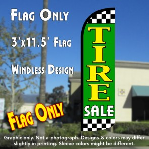 Tire Sale (Lime/Checkered) Windless Polyknit Feather Flag (3 x 11.5 feet)