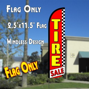 TIRE SALE (Red/Checkered) Windless Polyknit Feather Flag (2.5 x 11.5 feet)