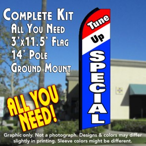 TUNE UP SPECIAL (Tri-color) Flutter Feather Banner Flag Kit (Flag, Pole, & Ground Mt)