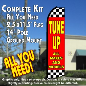 TUNE UPS ALL MAKES AND MODELS (Red/Checkered) Flutter Feather Banner Flag Kit (Flag, Pole, & Ground Mt)